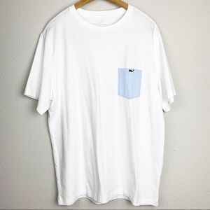 Vineyard Vines Front Pocket Whale White Tee